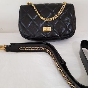 Leather lightweight vintage style chain crossbody